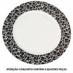 Conjunto 4 Pratos de Jantar Barcode em Porcelana - Urban