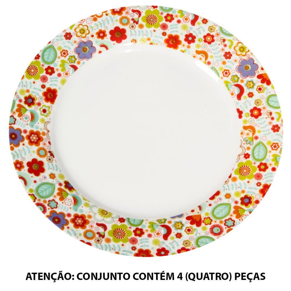 Conjunto 4 Pratos de Jantar Birds Coloridos em Porcelana - Urban - 27 cm