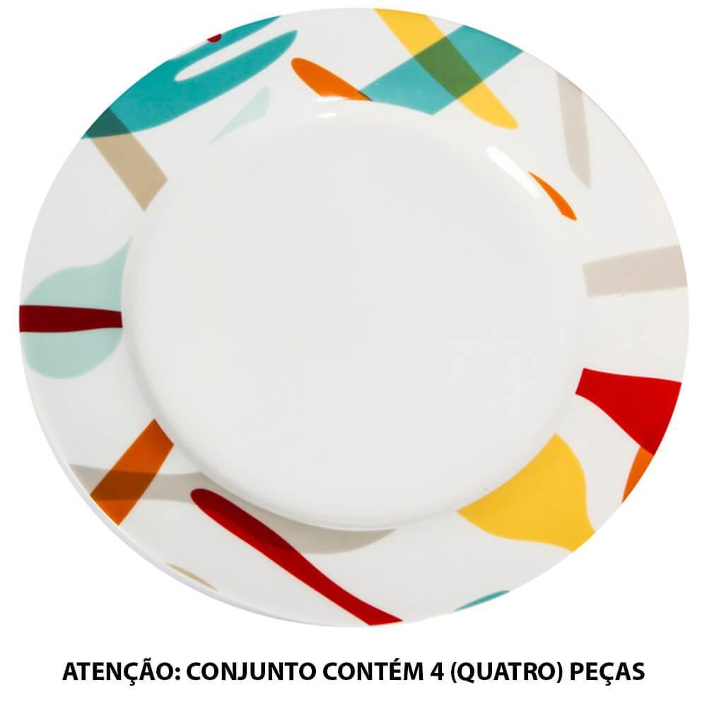Conjunto 4 Pratos de Jantar Cutlery Colors em Porcelana - Urban - 27 cm