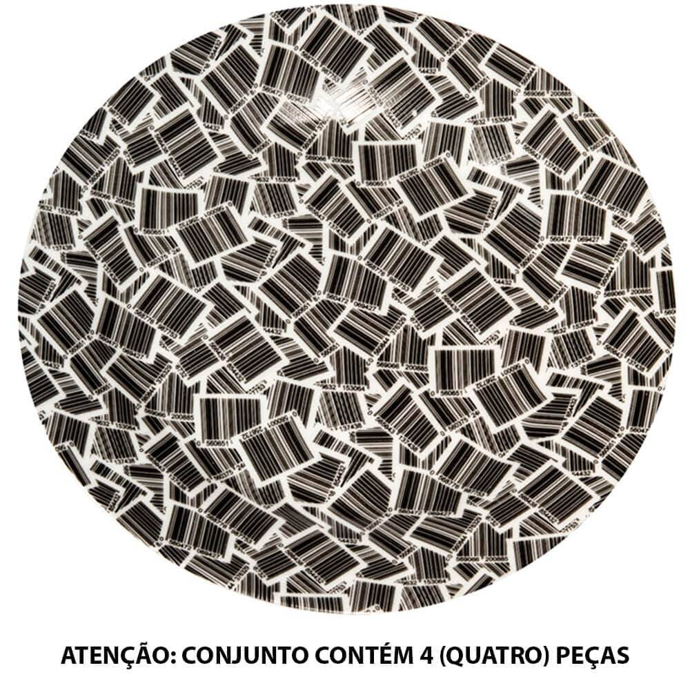 Conjunto 4 Pratos para Sobremesa Barcode Preto e Branco em Porcelana - Urban - 19 cm
