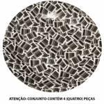 Conjunto 4 Pratos para Sobremesa Barcode em Porcelana Urban