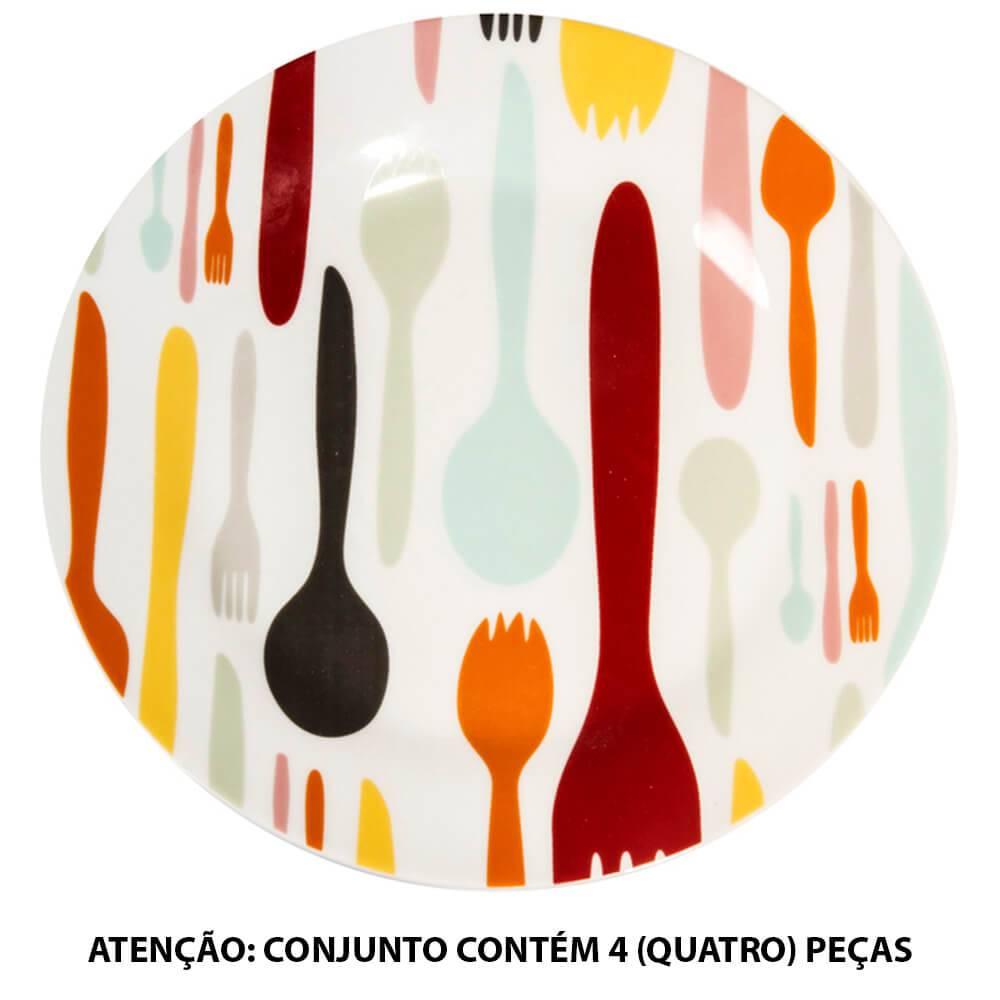 Conjunto 4 Pratos para Sobremesa Cutlery Colors em Porcelana - Urban - 19 cm