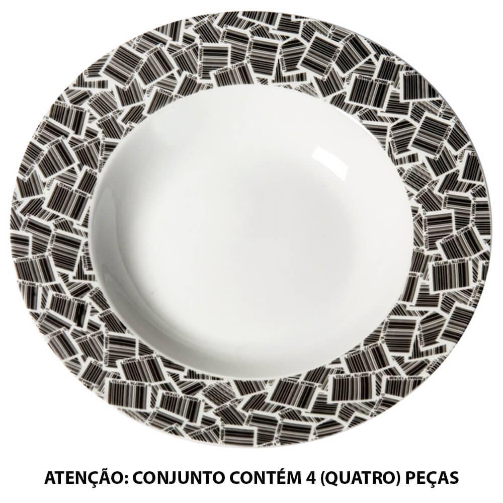 Conjunto 4 Pratos para Sopa Barcode Preto e Branco em Porcelana - Urban - 21 cm