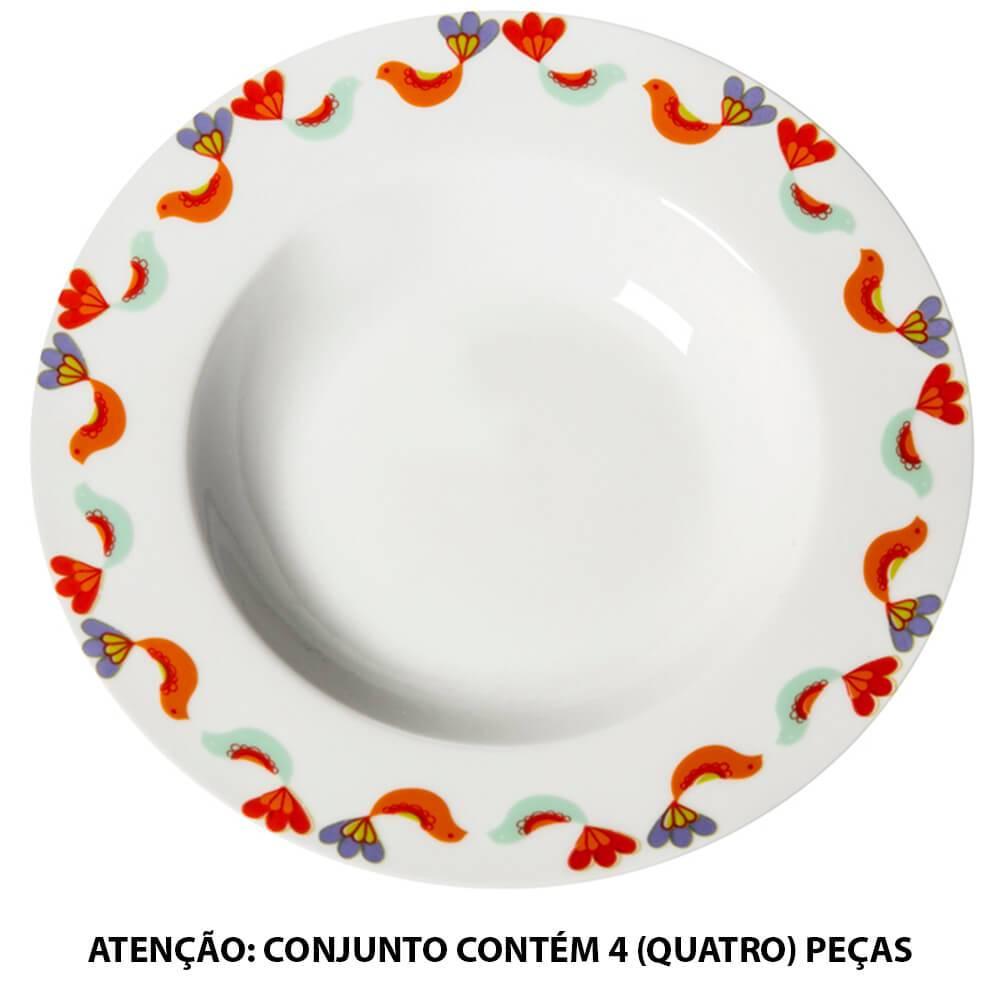 Conjunto 4 Pratos para Sopa Birds Coloridos em Porcelana - Urban - 21 cm