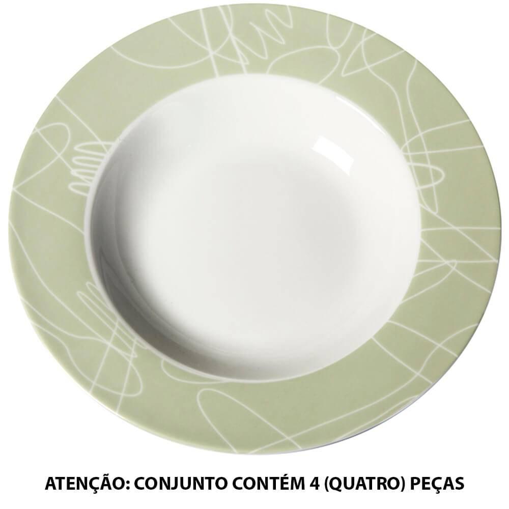 Conjunto 4 Pratos para Sopa Cutlery em Porcelana - Urban - 21 cm