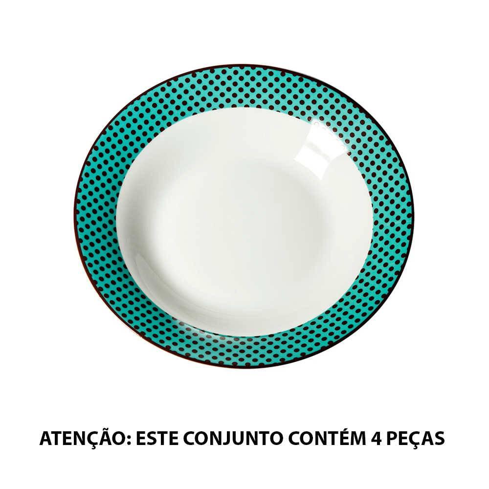 Conjunto 4 Pratos para Sopa Matrioska em Porcelana - Urban - 23 cm