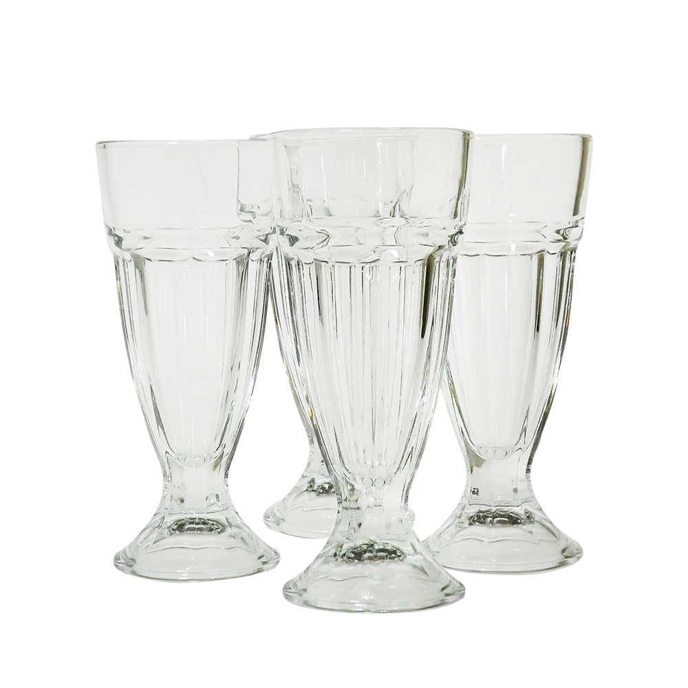 Conjunto 4 Taças para Milk Shake Altas em Vidro - Pasabahce - 19x8,5 cm