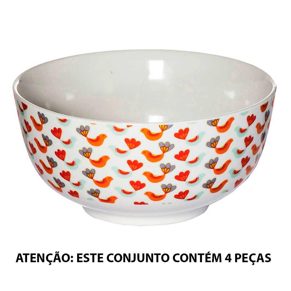 Conjunto 4 Tigelas Bird Coloridas em Porcelana - Urban - 16x14,5 cm
