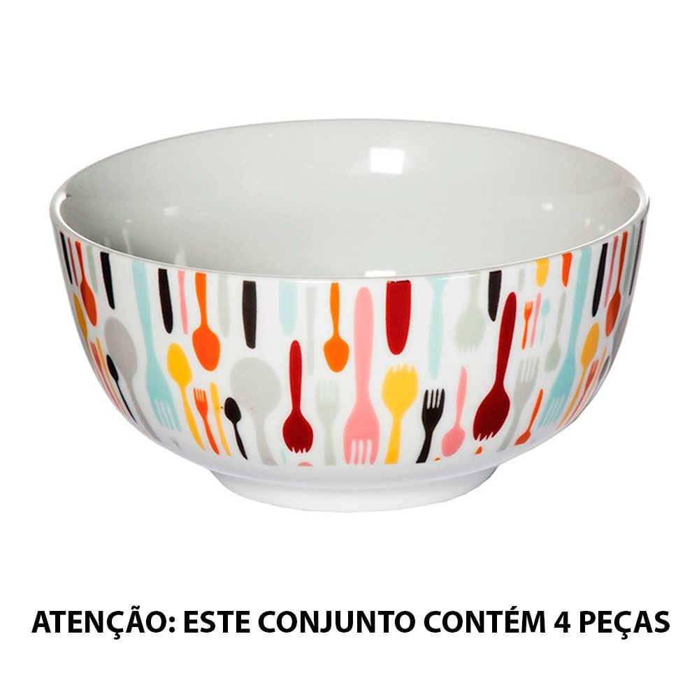 Conjunto 4 Tigelas Cutlery Coloridas 500 ml em Porcelana - Urban - 16x14,5 cm