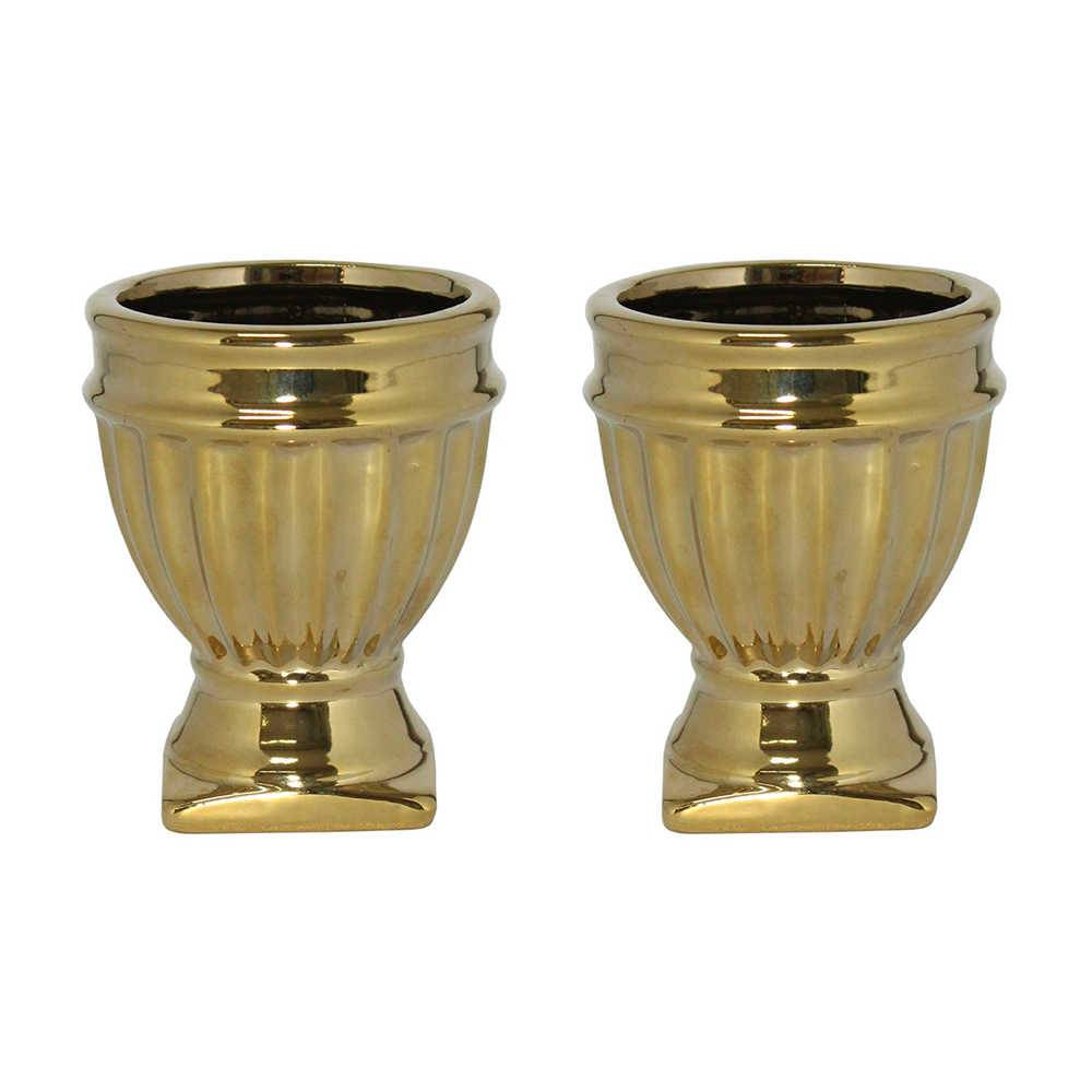 Conjunto 4 Vasos Verona Dourados Grande em Cerâmica - 10x7 cm