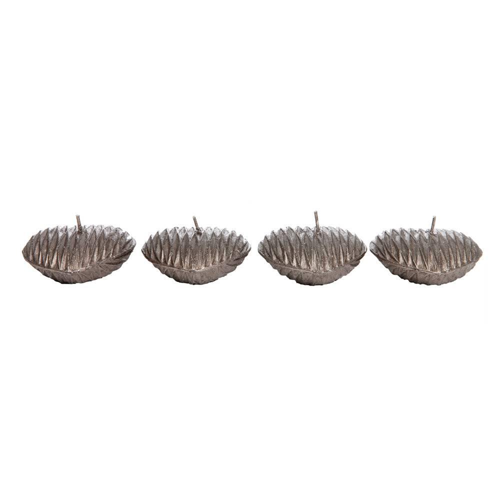 Conjunto com 4 Velas em Forma de Coração Prateadas - 6,5 cm