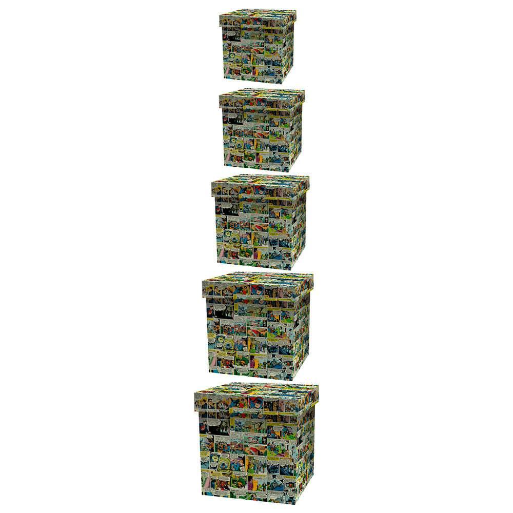 Conjunto 5 Caixas Organizadoras DC Comis Quadrinhos Coloridas em Madeira - Urban - 42,5x42 cm