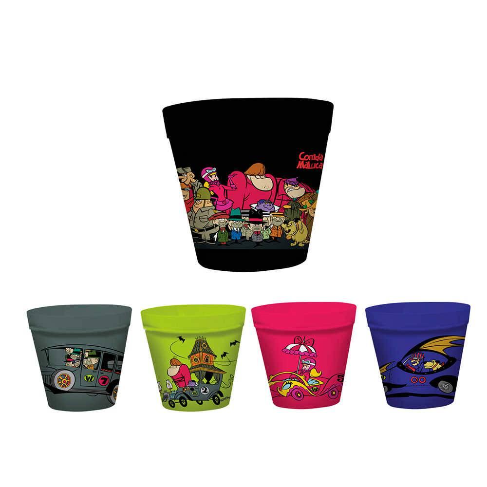 Conjunto 5 Potes para Pipoca Hanna Barbera Wacky Race All Characters em Melamina - Urban