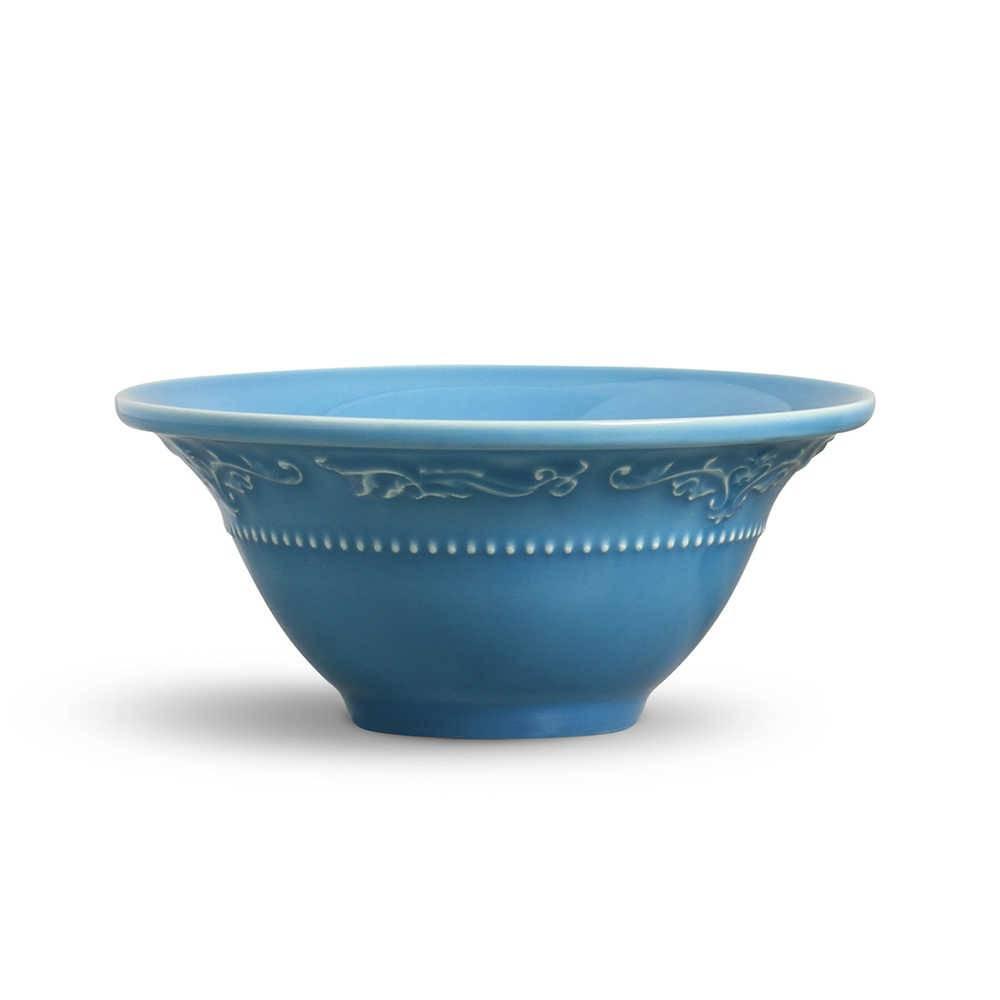 Conjunto 6 Bowls Acanthus Azul Celeste - em Cerâmica - La Tavola - Porto Brasil - 15,5x7 cm