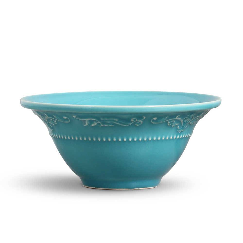 Conjunto 6 Bowls Acanthus Azul Poppy - em Cerâmica - La Tavola - Porto Brasil - 15,5x7 cm