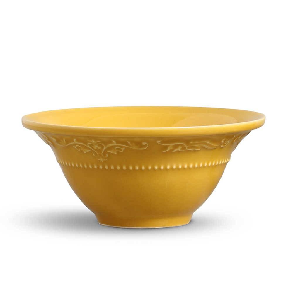 Conjunto 6 Bowls Acanthus Mostarda - em Cerâmica - La Tavola - Porto Brasil - 15,5x7 cm