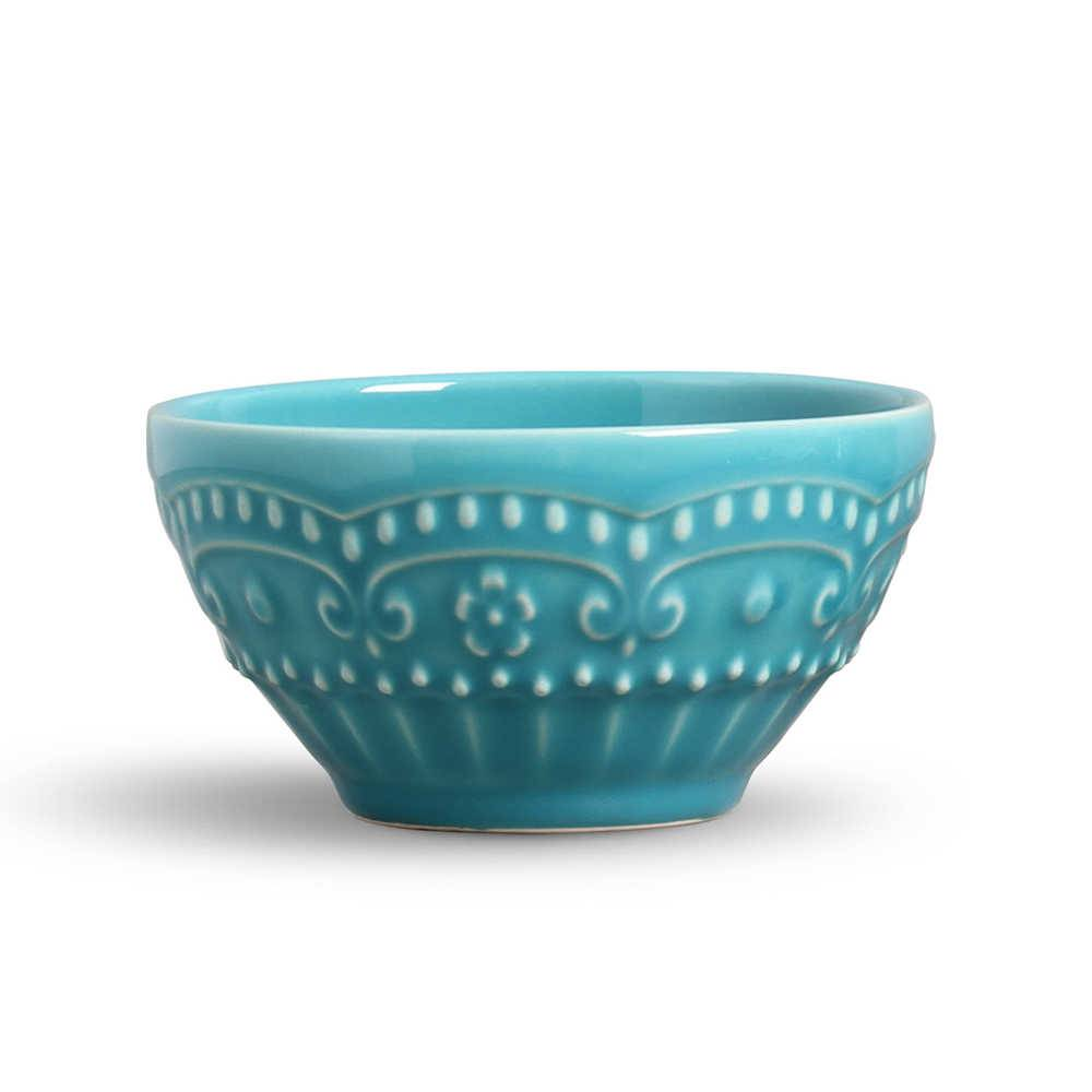 Conjunto 6 Bowls Esparta Azul Poppy - em Cerâmica - La Tavola - Porto Brasil - 15,5x7 cm