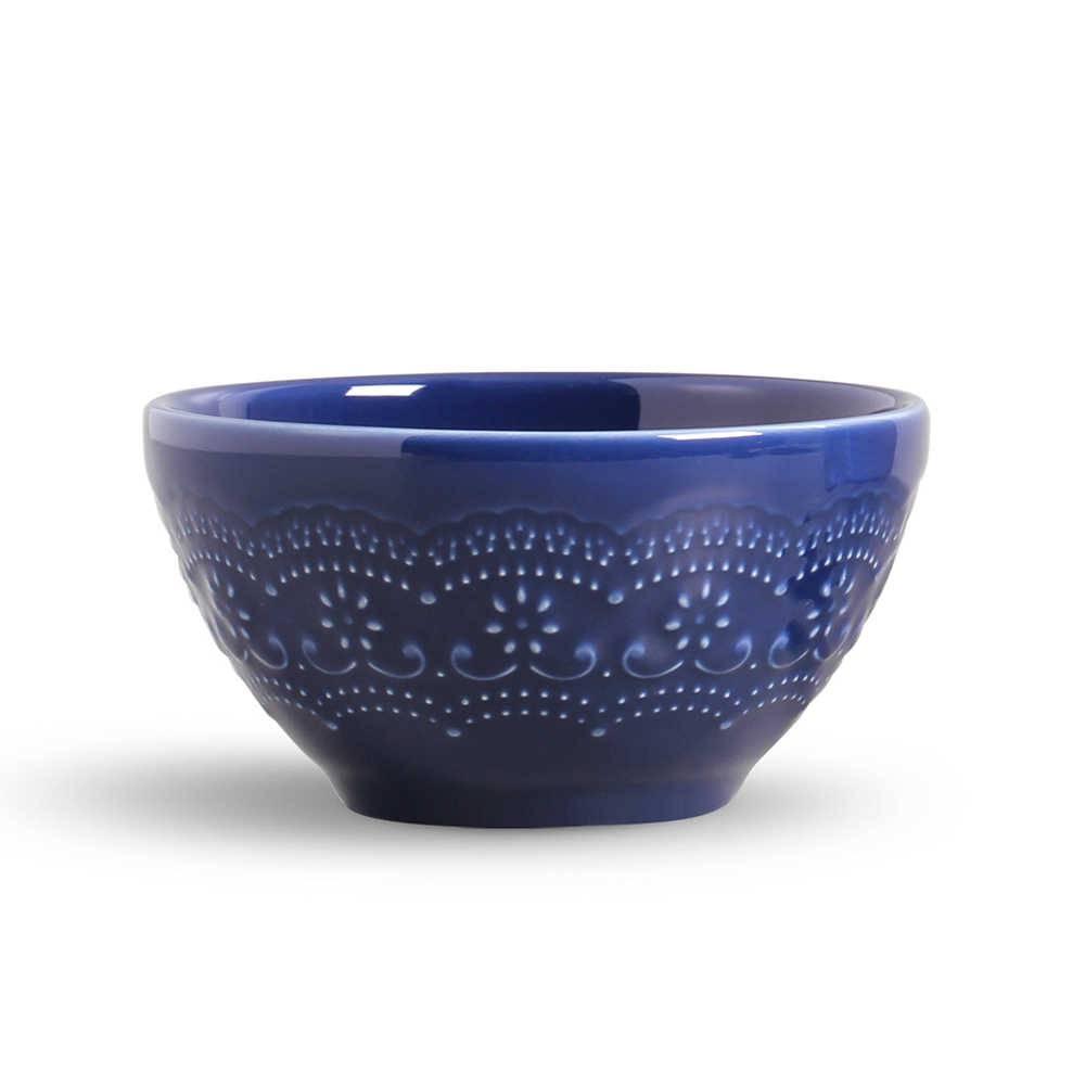 Conjunto 6 Bowls Madeleine Azul Navy - em Cerâmica - La Tavola - Porto Brasil - 15,5x7 cm