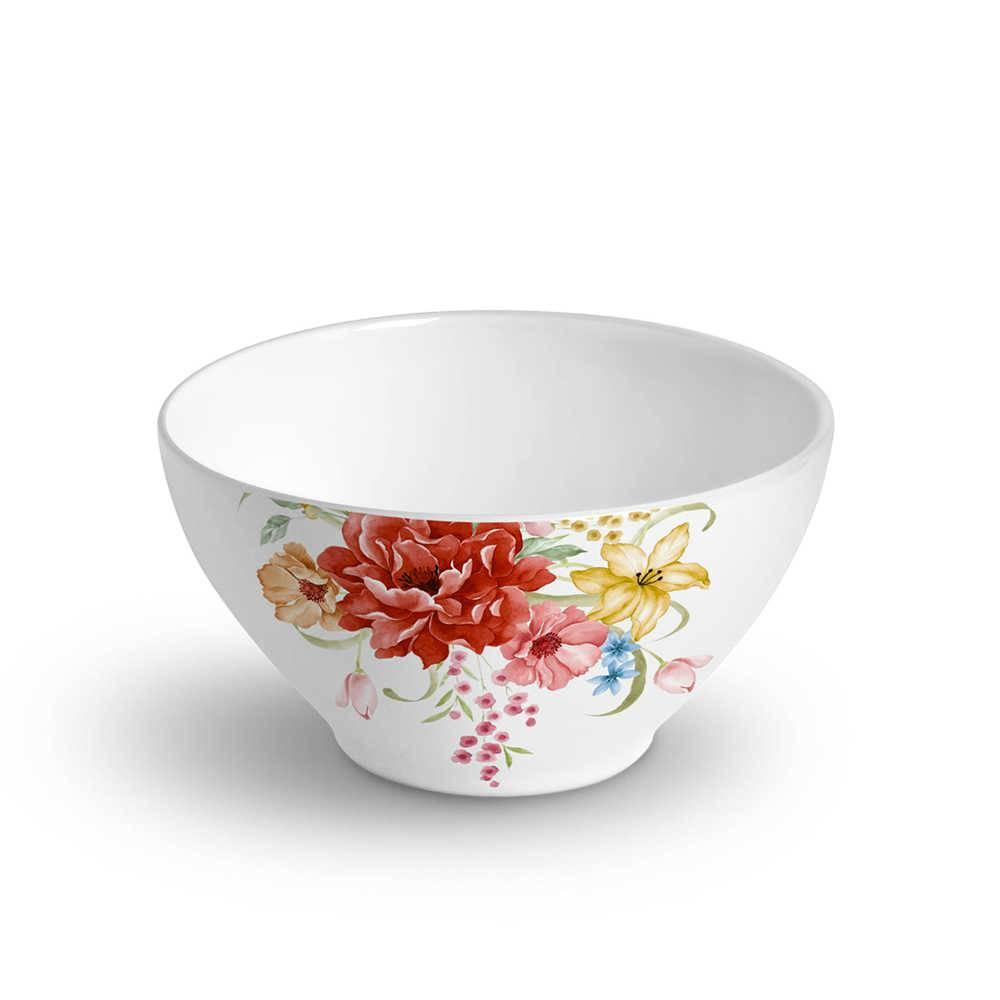 Conjunto 6 Bowls Mônaco Bouquet 420 ml em Cerâmica - Porto Brasil - 12,5x6,5 cm