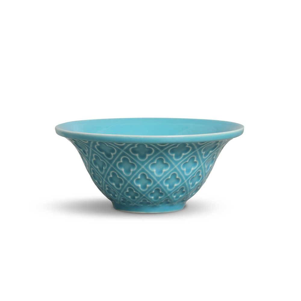 Conjunto 6 Bowls Relief Azul Poppy 450 ml em Cerâmica - Porto Brasil - 15,5x7 cm
