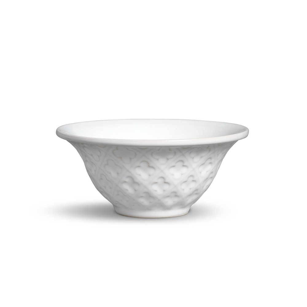 Conjunto 6 Bowls Relief Branco 450 ml em Cerâmica - Porto Brasil - 15,5x7 cm