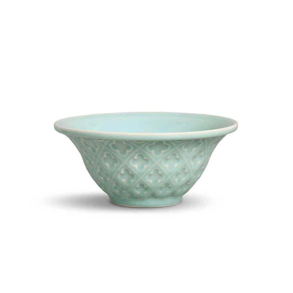 Conjunto 6 Bowls Relief Verde 450 ml em Cerâmica - Porto Brasil - 15,5x7 cm