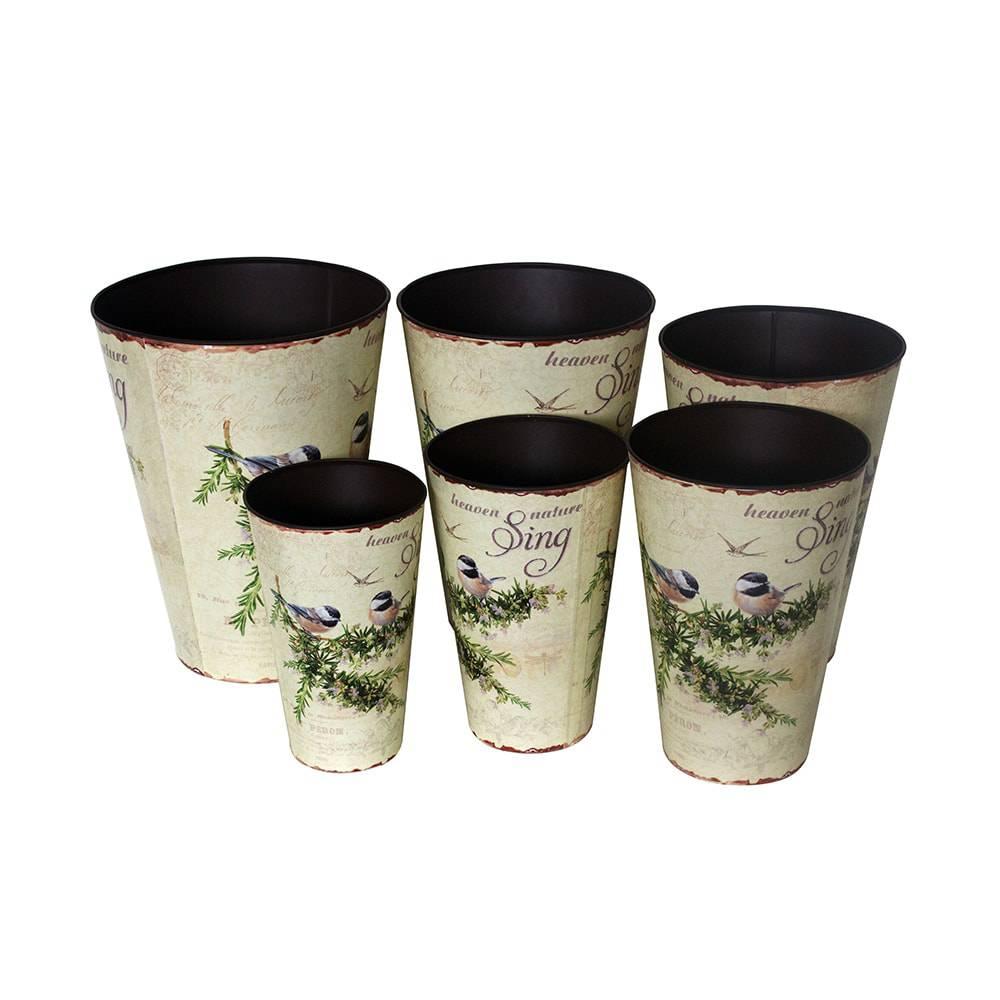 Conjunto 6 Cachepôs Pássaros em Zinco Greenway - 40x30 cm