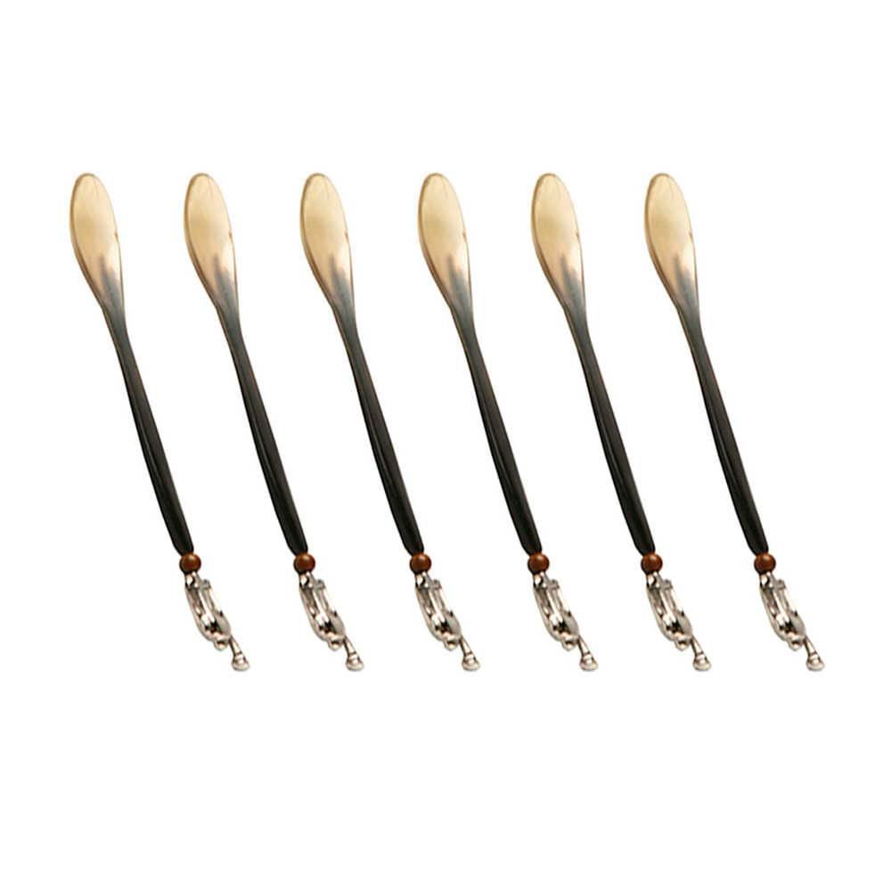 Conjunto 6 Colheres em Osso com Detalhe no Cabo - 15 cm