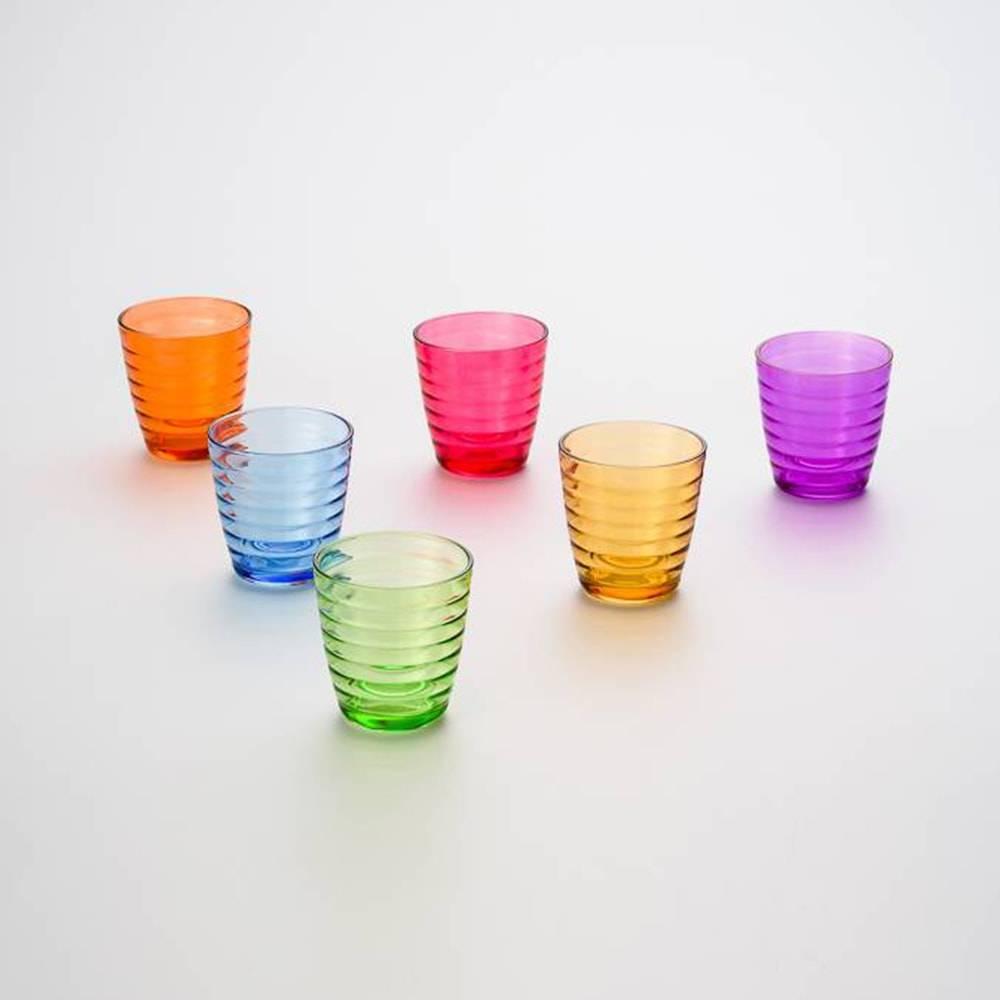 Conjunto 6 Copos Circle Coloridos - 235 ml - em Vidro - Bon Gourmet