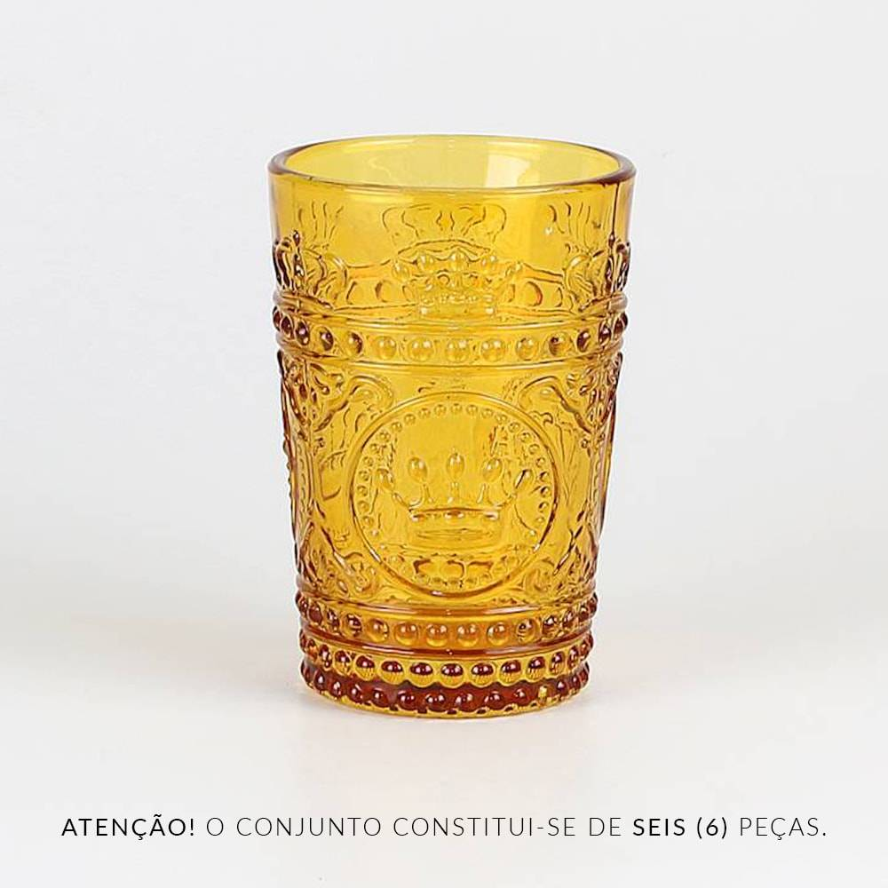 Conjunto 6 Copos Crown Ambar - 265 ml - em Vidro - Bon Gourmet