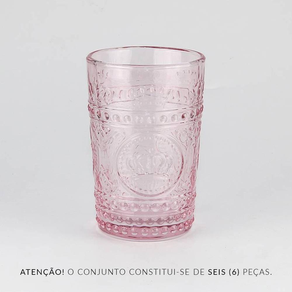 Conjunto 6 Copos Crown Pink - 350 ml - em Vidro - Bon Gourmet