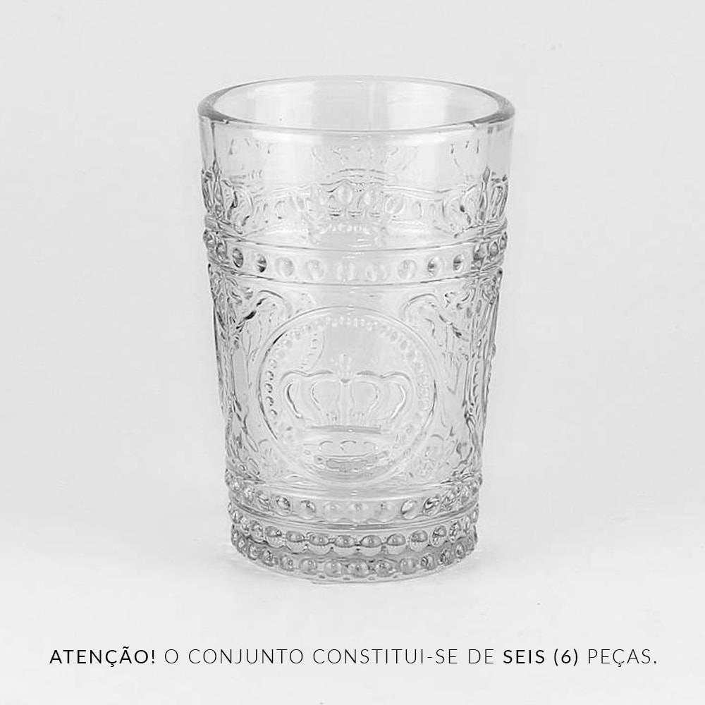Conjunto 6 Copos Crown Transparente - 265 ml - em Vidro - Bon Gourmet