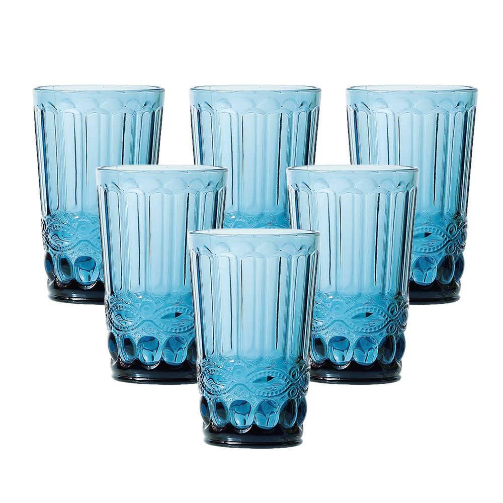 Conjunto 6 Copos Flash 330 ml Azul em Vidro - Lyor Design - 12,7x8 cm