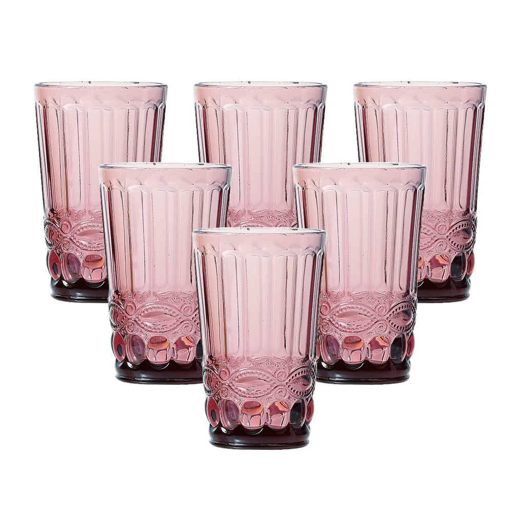 Conjunto 6 Copos Flash 330 ml Rosê em Vidro - Lyor Design - 12,7x8 cm