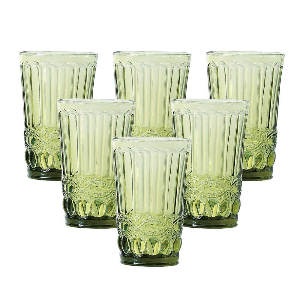 Conjunto 6 Copos Flash 330 ml Verde em Vidro - Lyor Design - 12,7x8 cm
