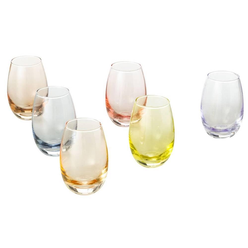 Conjunto 6 Copos para Licor Multicoloridos - 110 ml - em Vidro - Lyor Design - 9x7 cm
