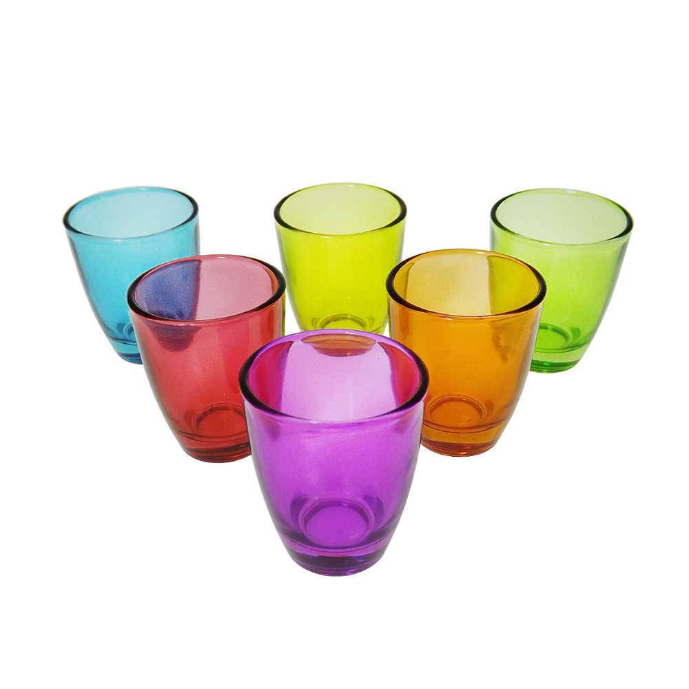 Conjunto 6 Copos de Shot Coloridos - 55 ml - em Vidro - Bon Gourmet