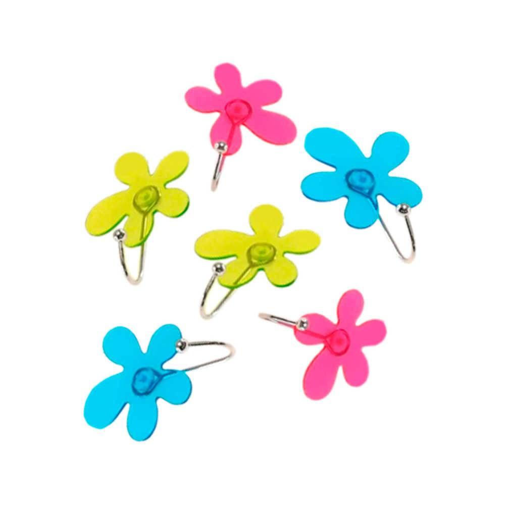 Conjunto 6 Ganchos com Forma de Flor Coloridos em Acrílico - 8x7 cm