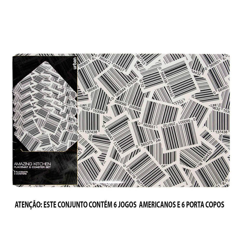 Conjunto 6 Jogos Americanos e 6 Porta-Copos Barcode em PVC - Urban - 40x29 cm