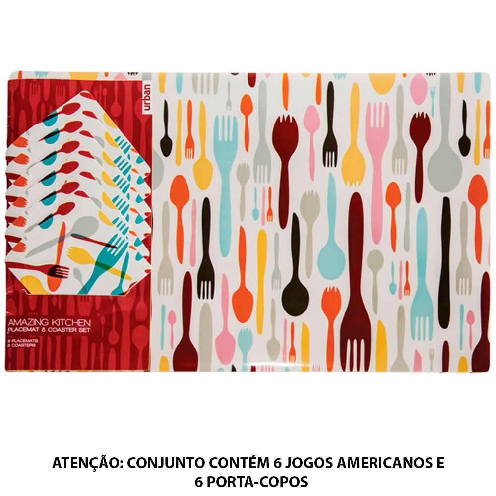 Conjunto 6 Jogos Americanos e 6 Porta-Copos Cuttlery em PVC - Urban - 44x28,5cm