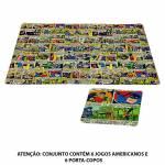 Conjunto 6 Jogos Americanos e 6 Porta-Copos DC Comics em PVC - Urban - 45x29 cm