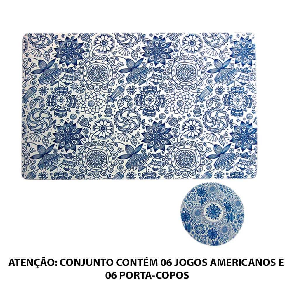 Conjunto 6 Jogos Americanos e 6 Porta-Copos Indigo Henna Flower em PVC - Urban - 44x28,5 cm
