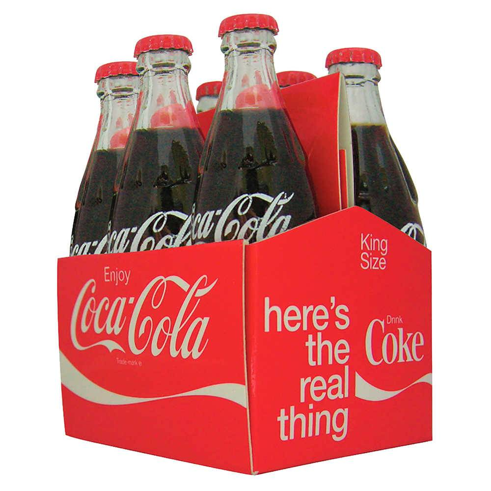 Conjunto 6 Mini Garrafas Coca-Cola Filled Six Pack em Vidro Urban - 8x5 cm