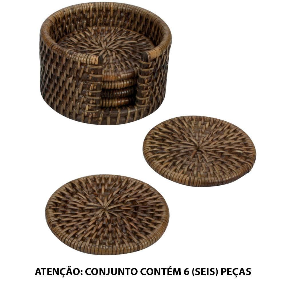 Conjunto 6 Porta-Copos Redondos em Rattan - L Hermitage - 12x6 cm