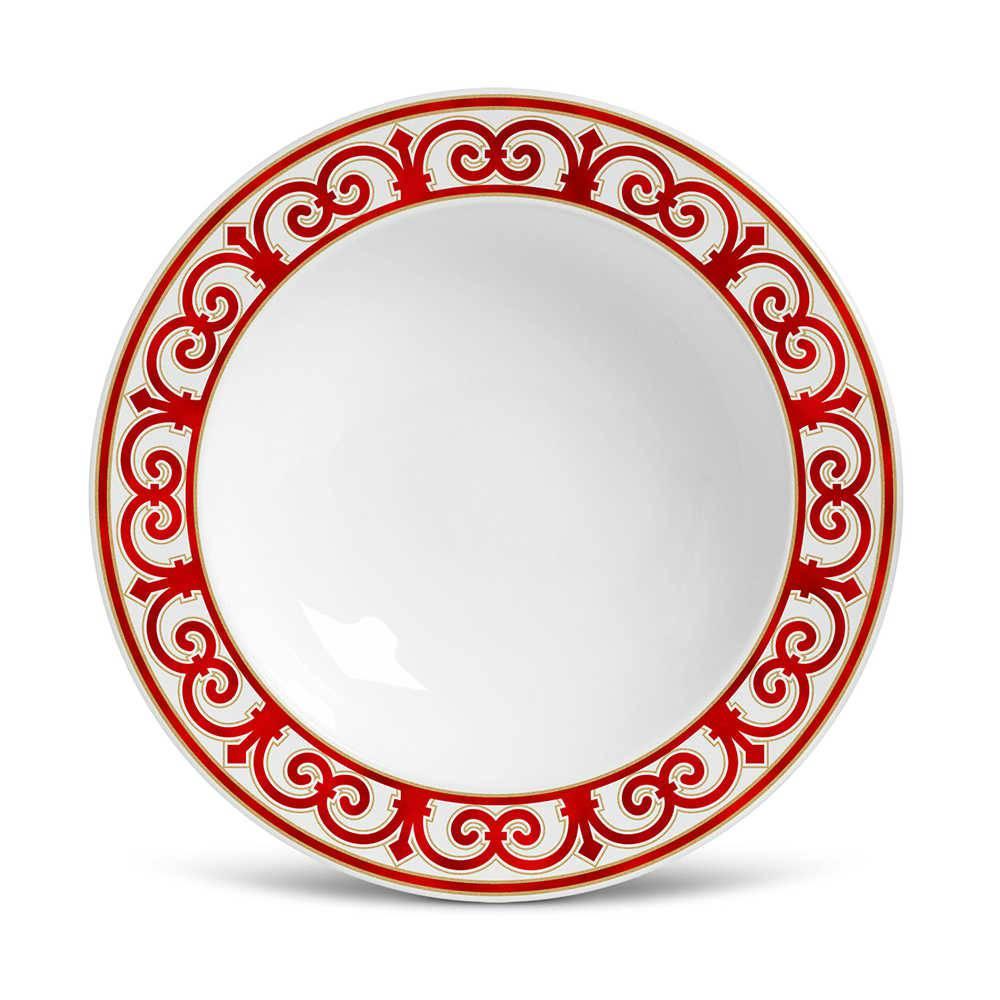 Conjunto 6 Pratos Fundos Flat Medieval em Cerâmica - Porto Brasil - 22x5 cm