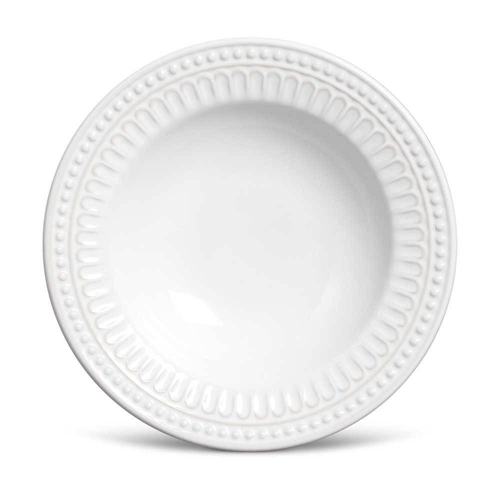 Conjunto 6 Pratos Fundos Pérgamo Branco em Cerâmica - Ravenna - Porto Brasil - 22x5 cm