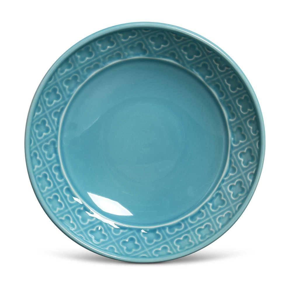 Conjunto 6 Pratos Fundos Relief Azul Poppy em Cerâmica - Porto Brasil - 21x5 cm
