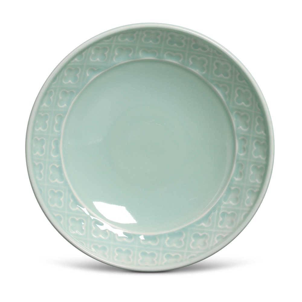 Conjunto 6 Pratos Fundos Relief Verde em Cerâmica - Porto Brasil - 21x5 cm