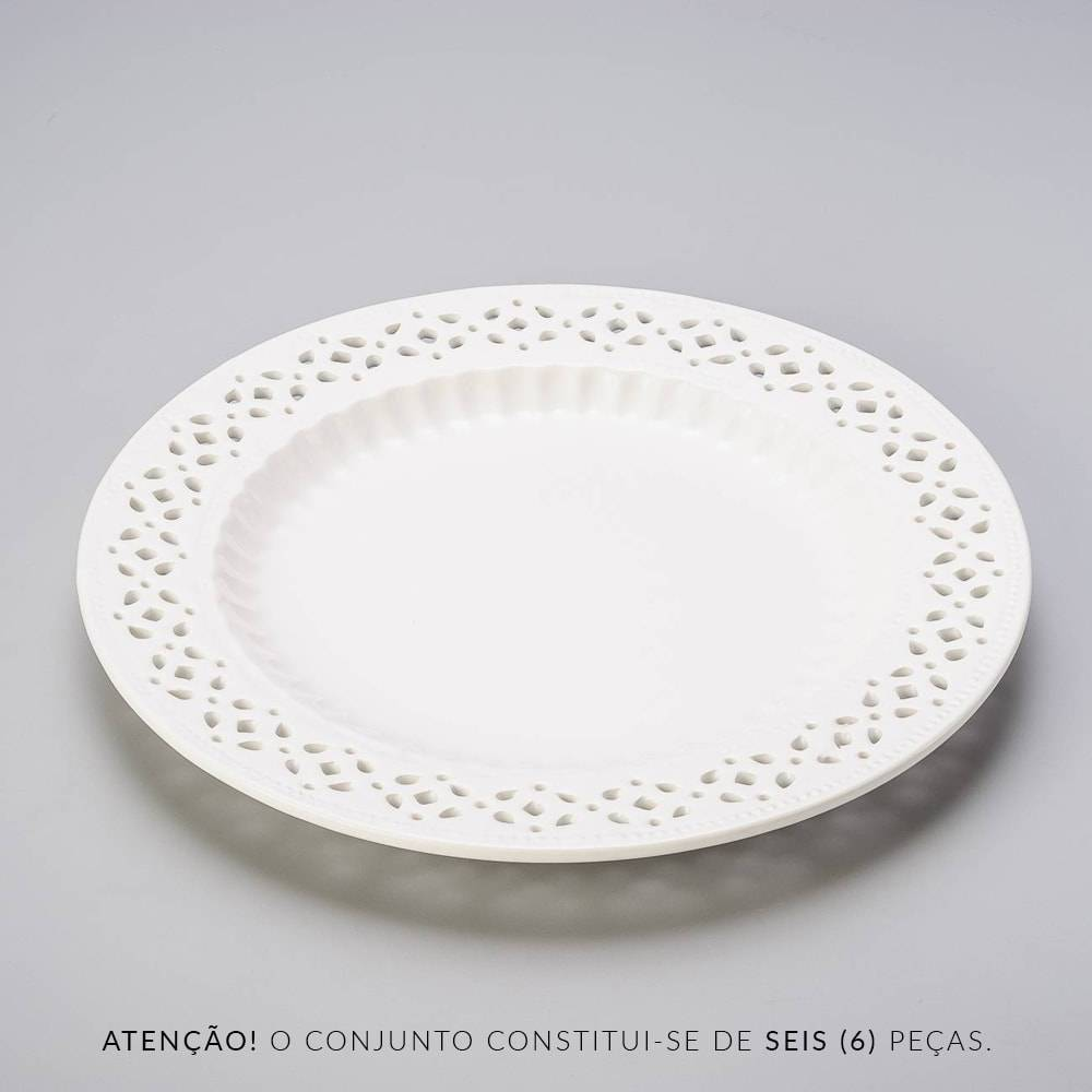 Conjunto 6 Pratos de Jantar Rendados Brancos - Bon Gourmet - 26 cm