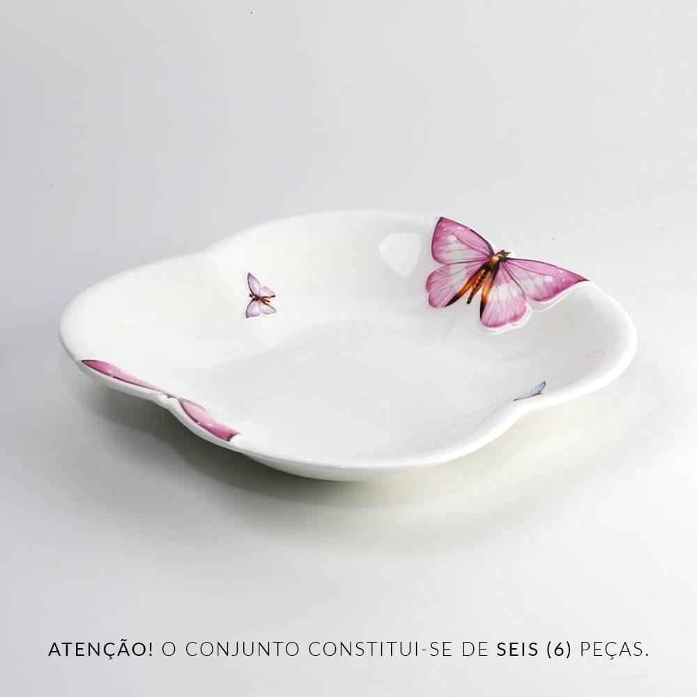 Conjunto 6 Pratos p/ Sopa Borboletas em Porcelana - Wolff - 21,8 cm